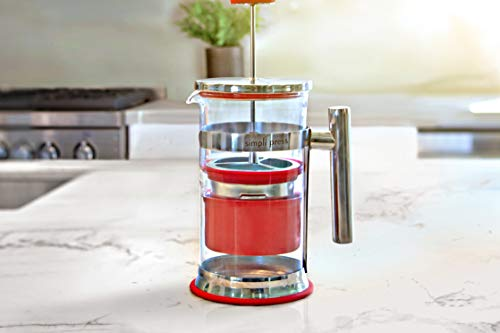 Simpli Press French Press Coffee & Tea Maker - Easy Cleanup & Grit-Free Coffee - Customizable Brew - Flavorful, Smooth Coffee - Plastic-Free Premium Stainless Steel 34 oz - Red Color