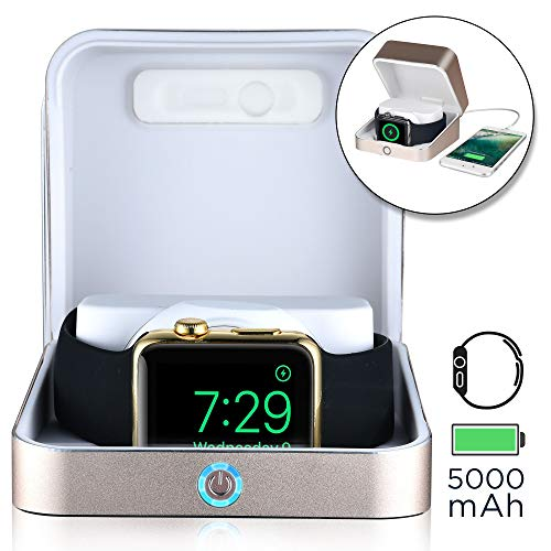 Sumato WatchBox Charging Case for Apple Watch 5 4 3 2 1 [Travel Battery Charger] MFI Certified 5000mAh Power Bank, Charges iWatch & iPhone (Gold)