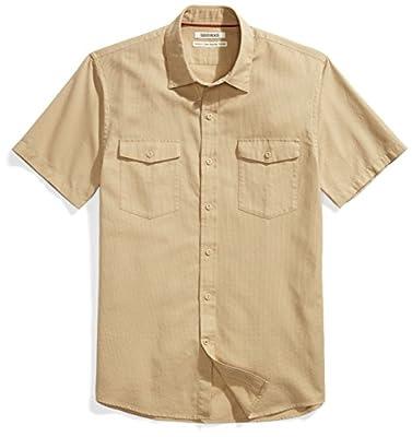 Amazon Brand - Goodthreads Men's Standard-Fit Short-Sleeve Ripstop Dobby Shirt, khaki, XX-Large