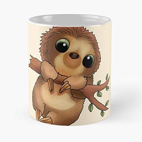 Sloth Leisure Cartoon Cillen Comic Animals Cute Taza de café con Leche 11 oz