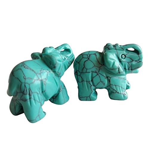 Gemgogo 2 Pcs Synthesis Howlite Turquoise Elephant Crystals and Healing Stones,Pocket Statue Kitchen Guardian Figurine Decor 1.5 Inches