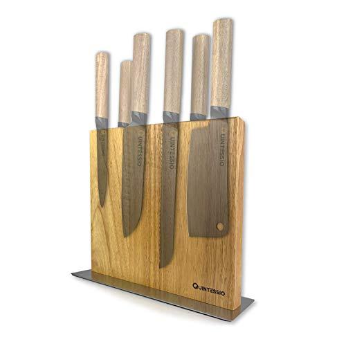 QUINTESSIO Bloque magnético para cuchillos sin cuchillos - Portacuchillos magnético de madera de doble cara - Tabla de cuchillos XL con imanes extra fuertes - Barra magnética para cuchillos de cocina