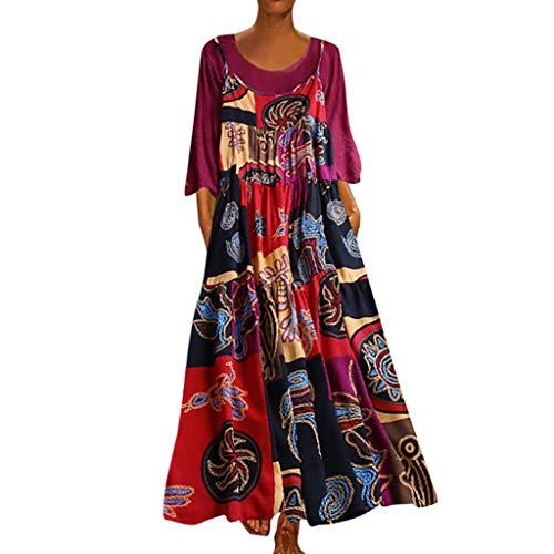 Leinen Kleider Mode Damen Plus Size Sommerkleid Patchwork Freizeitkleider Zweiteilige Oansatz Tuchkleid Blusenkleid Bohemian Print Vintage Maxi-Kleid Hot Pink L