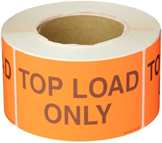Tape Logic DL2681 Special Handling Label, Legend  Top Load Only , 5  longueur x 3  Width, Fluorescent rouge (Roll of 500) by Tape Logic