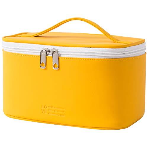 Makeup Tasche Tragbare Kosmetiktasche, Waschbarer Wasserdichter Kulturtasche Damen für Mädchen und Frauen (Gelb)