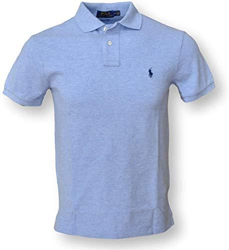 Polo Ralph Lauren Mens Heathered Mesh Polo Shirt (Small, Blue HTR)