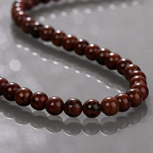 Gemshiner Halskette Natur Mahagoni Jaspis Edelstein Halskette 6,2 MM Perlen Halskette Heilung 925 Sterling Silber Chane 45 CM handgemachte Frauen Schmuck Halskette für Geburtstagsjubiläumsgeschenke