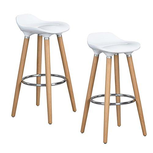 Taburetes de bar, juego de 2, ideal para bar o cocina, con patas de madera, 2 unidades, madera, blanco, ABS, metal, de Homy Casa.