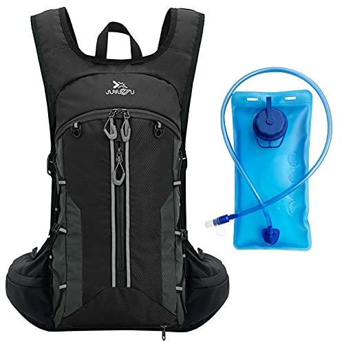 DARIMAY Mochila para bicicleta, Mochila de hidratación con vejiga de hidratación de 2 litros, Mochila ultraligera impermeable de 12L para montar, caminar, escalar, correr para hombres y mujeres