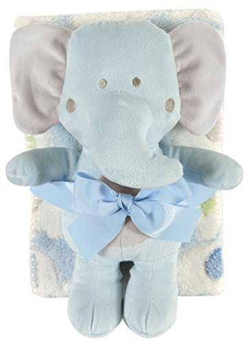 Stephan Baby Snuggle Fleece Crib Blanket and Plush Toy Set Available in 13 Designs, Blue Elephant