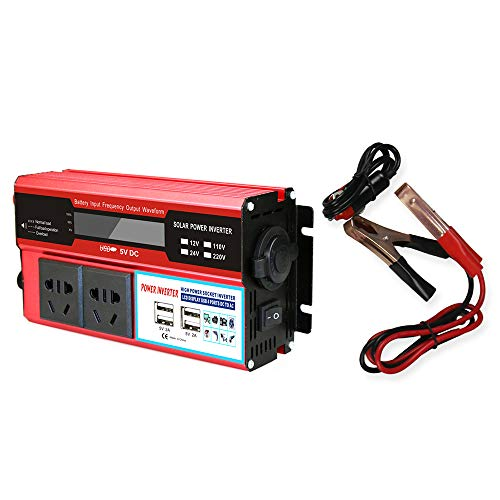 KKmoon Inversor de Corriente de 12v a 220v, Convertidor 2000W de Onda Modificada Transformador (Rojo)