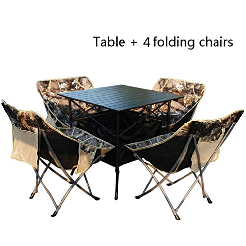 JHTRY Klapptisch Aluminiumlegierung, Falten Tisch, Draussen Klappstuhl, Quadrat Essen Tabelle Computer Schreibtisch Für Camping, Picknick, Strand, Wandern, Reise, Angeln (Color : Table+4 Chairs)