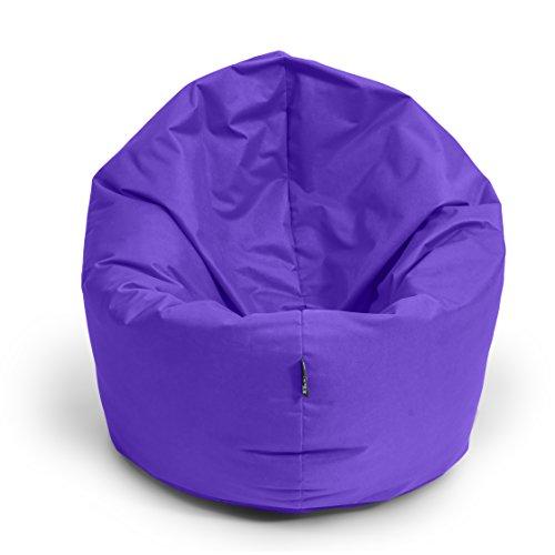 BuBiBag Sitzsack 2-in-1 Funktionen mit Füllung Sitzkissen Bodenkissen Kissen Sessel BeanBag (100 cm Durchmesser, lila)