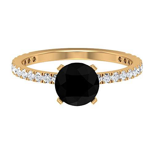 Anillo solitario de 7 mm de espinela negra, anillo de diamante HI-SI, anillo de compromiso de oro simple, 14K Oro amarillo, Size:EU 46