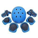 Juego de engranajes de protección para niños, bicicleta de bicicleta Casco de montaña Rodilleras almohadillas de codo Pads de pulsera para niños Edades 3-8 Scooter Ciclismo Rodillo patinaje patín,Azul