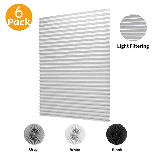 LUCKUP 6 Pack Cordless Light Filtering Pleated Fabric Shade,Easy to Cut and Install, with 12 Clips (36'x72' - 6 Pack, White)