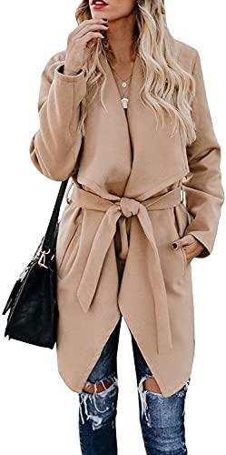 Abrigo con Solapa para Mujer Chaqueta de Guisante con cinturón Casual de Manga Larga Vestido Gabardina Abrigos con Bolsillos (S,Camel)