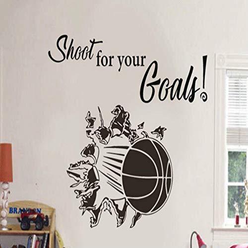 BFMBCH Basketball Bricht Durch Die Wandaufkleber Vinyl Aufkleber Blume Für Ihr Ziel Für Jungen Schlafzimmer Wand Art Deco Wandaufkleber Grau 52x42 cm