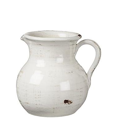 Sullivans Antique White Ceramic Pitcher, Waterproof, 8 x 9 Inches (CM2515)