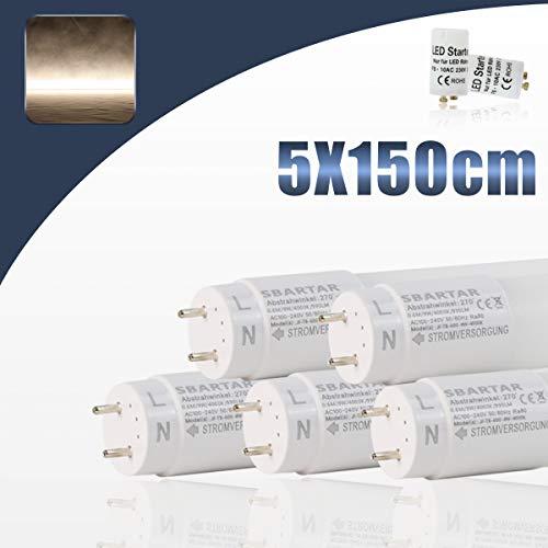 [5er PACK zum Sparpreis] SBARTAR LED Leuchtstoffröhre 150cm Tageslicht Neutralweiß 4000K 22W - Neonröhre Ersatz für T8 Rasterleuchte Bürolampe Deckenleuchte Leuchtstofflampe - 2500lm - inkl. Starter