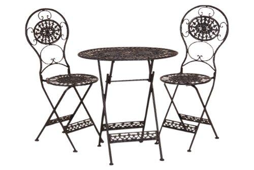 Jungbrunnen, Gartenset Tea for two, ovaler Eisentisch mit 2 Eisenstühlen, alles klappbar, schwarz lackiert