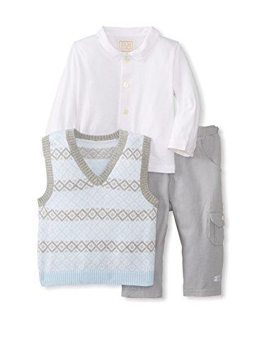 Emile et Rose festlicher Baby-Anzug mit Langarm-Hemd, Strick-Pullunder & Hose (hellblau-grau) Jungen, Festmode für Taufe & Hochzeit, Gr. 74 (74)