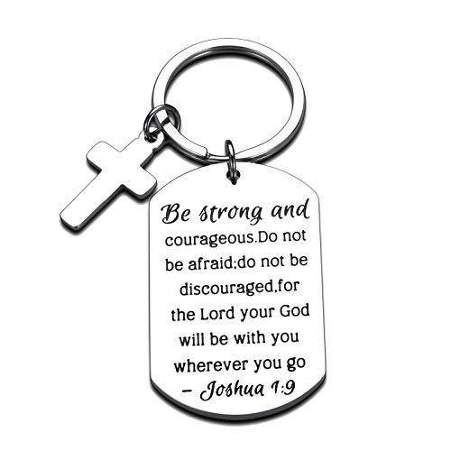 Christian Gifts Inspirational Bible Verse Keychain Be Strong and Courageous Pendant Cross Charm Men and Women Religious Jewelry for Birthday Graduation Communion Christmas Thanksgiving