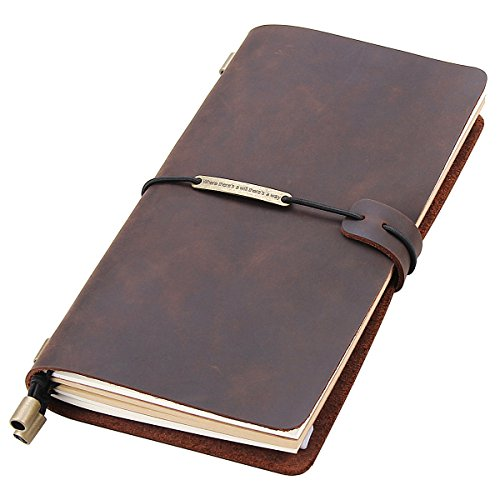Leather Writing Journal Notebook Refillable, Handmade Travelers Notebook for Men & Women, Perfect for Writing, Gifts, Travelers, Standard Size 8.5