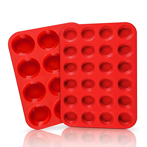 SJ European LFGB Silicone Muffin Pan Baking Trays 2Pack 12Cup amp 24Cup Cupcake Pans Silicone Baking Molds Red NonStick amp BPA Free