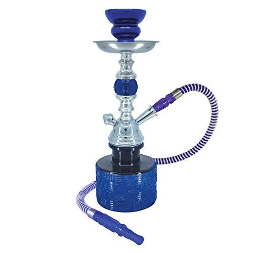 13 Inches Ripple Complete Hookah Set, Modern 1 Hose Hookah Kit with Hookah Accessories - Blue Hookah Set