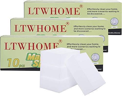 LTWHOME Magique Nettoyant Gomme Eponge Mélamine Mousse de Haute Qualité 90 X 60X 30mm (Paquet de 30)