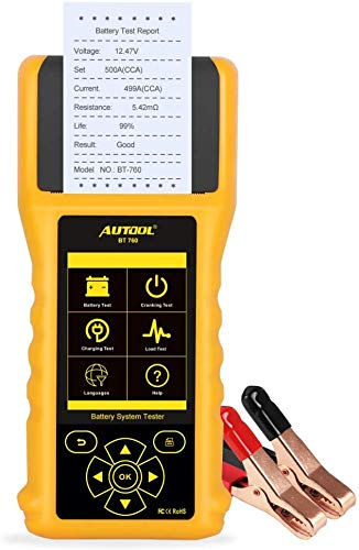 Mrcartool AUTOOL BT760Auto Car Battery Tester Car Battery Analyzer for 12V 24V Cars Vehicles Trucks Charging System Diagnostic Tool with Printer and 3PCS Printer Paper