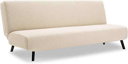 Funda universal para sofá sin brazos, protector de funda de futón elástico de poliéster y licra, funda de asiento para sofá cama sin brazos, protector de muebles sin funda de reposabrazos (gris claro)