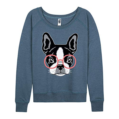 French Bulldog With Glasses - Ladies French Terry Pullover Heather Blue