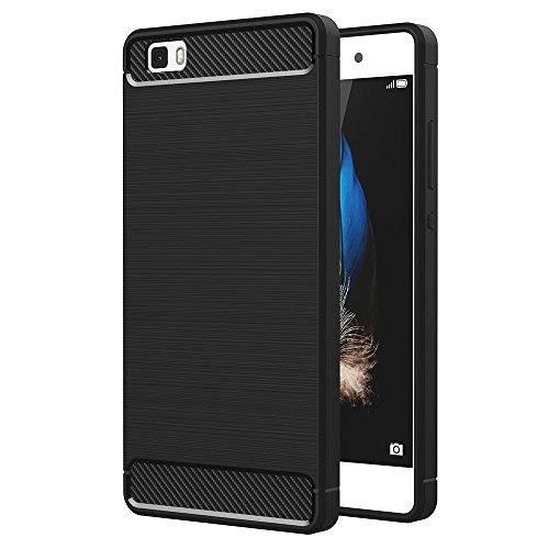 Vcomp Funda Silicona Suave en Fibra de Carbono Pulido Patrón TPU Funda para Huawei P8lite ALE-L21 / P8 Lite ALE-L04 [ las Dimensiones Exactas Del Teléfono: 143 x 70.6 X 7.7 mm] - Negro