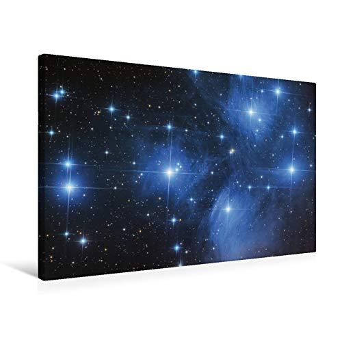 Premium Textil-Leinwand 75 cm x 50 cm quer Plejaden - Offener Sternhaufen im Sternbild Stier