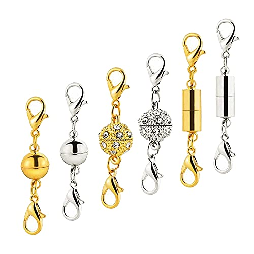 harayaa 6 Broche Magnético de Cobre para Joyería, Collar, Pulsera, Cierre de Langosta, Cierre