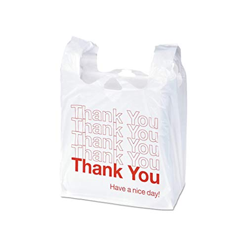 APQ Pack of 2000 Thank You Plastic Bags 6 x 4 x 15. Carry-Out T-Shirt Bags 6x4x15, Thickness 0.65 mil. Reusable Preprinted Shopping Bags. Durable Poly Bags for Retail Shopping, Restaurant, Clothes.