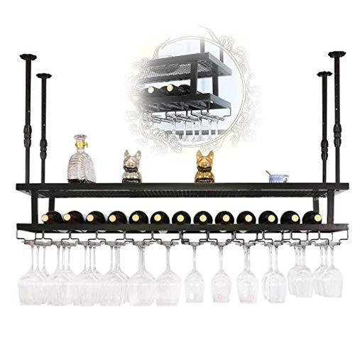 GDSKL Wine Rack Organizar Cocina 2 Niveles Colgante Negro Techo Decoración Estante Stemware Holder Vintage Industrial, para Cocinas de Restaurantes,Los 60X30Cm