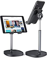 WEIGHTED ANTI-SLIP BASE: This cell phone stand for desk is equipped with a weighted base, and an aluminum alloy rod that makes a lower centre of gravity. Therefore, this cell phone stand is stable enough to support all smartphones, such as iPhone 11/...