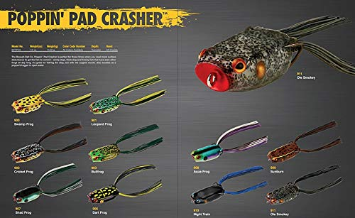BOOYAH Pad Crasher Topwater Bass Fishing Hollow Body Frog Lure with Weedless Hooks