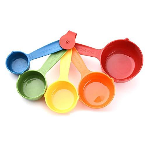 Persdico, Tazas medidoras de plástico Coloridas para Cocina, Mango ergonómico, Cuchara para Hornear, Pastel de azúcar, Cuchara medidora para el hogar