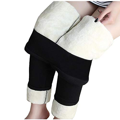 JUFANaizenem Leggings de lana de Cashmere para mujer, deportivos, de cintura alta, pantalones de yoga, pantalones de correr, yoga, gimnasio, ocio, fitness, running, entrenamiento, S - XXXXXL Negro S