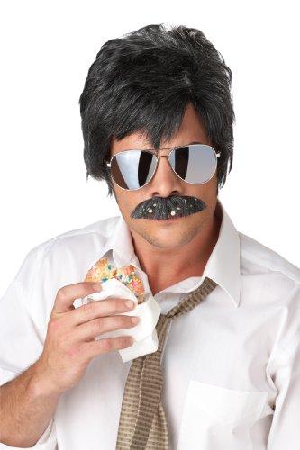 California Costumes Sabotage Detektiv Perücke Plus Schnauzbart schwarz-Silber Einheitsgröße