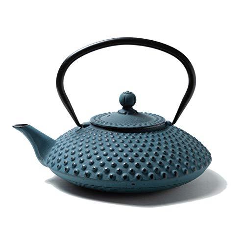 Tealøv TEEKANNE GUSSEISEN 1,25 Liter | Gusseiserne Teekanne im Japanischen Stil | Gusseisen Teekanne mit Sieb aus Edelstahl | Hervorragende Wärmespeicherfähigkeit | Langlebig | Kambin | Blau
