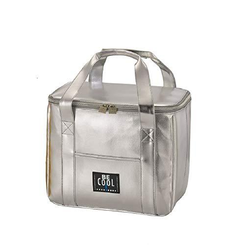 foolonli Kühltasche Kühlbox 25 Liter Silber hochwertig BE CooL City Picknickkorb