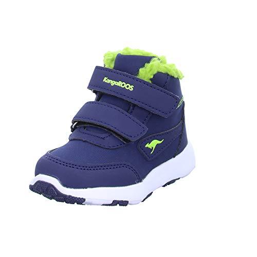 KangaROOS Snowdrifter Unisex Baby Sneaker, Blau (Dark Navy/Lime 4054), 24 EU