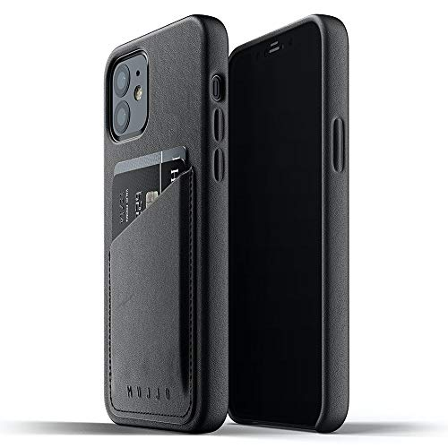 Mujjo iPhone 12 Mini Leather Case Black - Premium Wallet Case - Compartments for 2-3 Cards - Extra Thin - Shockproof Protective Case - Wireless Charging - 5.4 Inches - Unique Natural Ageing Effect