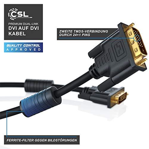 CSL – 2m DVI zu DVI Kabel | Dual Link 24+1 | vergoldete Kontakte | HDTV Auflösungen bis 2560×1600 | 2x Ferritkern | verzinnte OFC Kupferleiter | x.v.Color - 5
