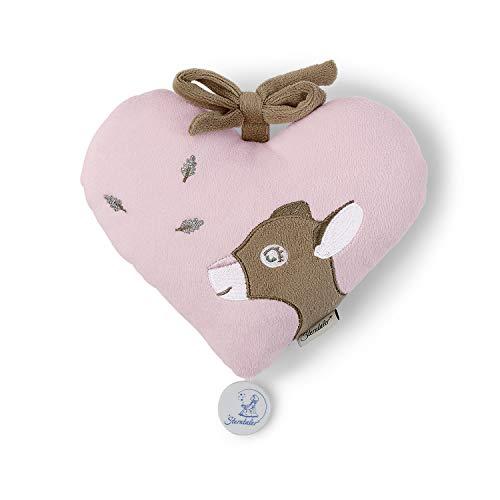 Sterntaler Fille Peluche Musicale, Coeur avec chevreuil Rosie, Boîte à Musique Remplaçable, Taille: M, Rose/Brun